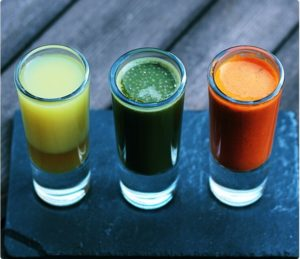 Juices in small glasses for tasting